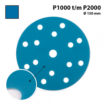 SANDING DISCS - BLUE 15 holes  Ø 150 mm - P1000 (100 pc)